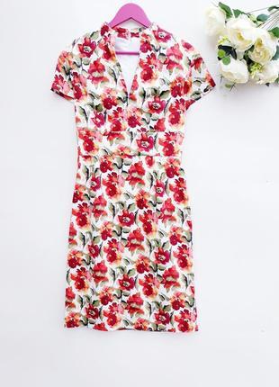 Красивое цветочное платье с натуральной ткани шикарное платье ...