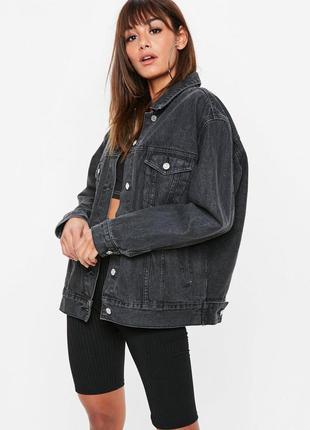 🌿 серая джинсовая куртка | джинсовка pull&bear бойфренд удлине...