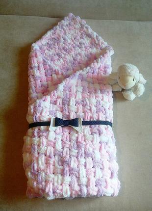 Плюшевый плед коверт на выписку для новорожденных