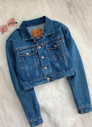 🌿 синяя укороченная джинсовая куртка оверсайз бойфренд • жакет...