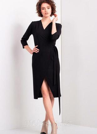 Черное платье-халат от ше с глубоким разрезом (турция)