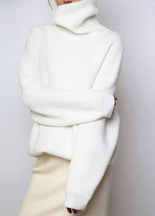 Белый свитер однотонный, свободный пуловер белый, женский свитер