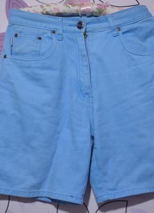 Яркие бирюзово-голубые джинсовые шорты высокая посадка