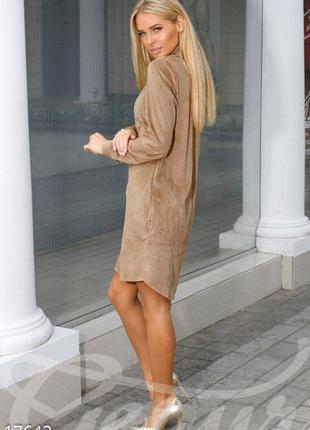 Платье под замшу с закруглеными боками