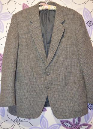 Твидовый пиджак harris tweed. шерсть. размер 3хл