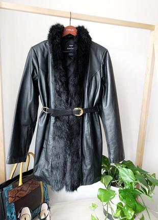 Кожаная дубльонка куртка с поясом
