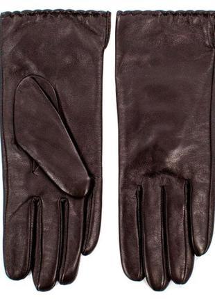 Женские кожаные коричневые перчатки натуральная кожа