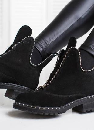Зимние замшевые ботинки на низком каблуке 36-41р