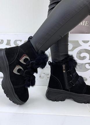 Зимние замшевые ботинки на платформе  38,39р
