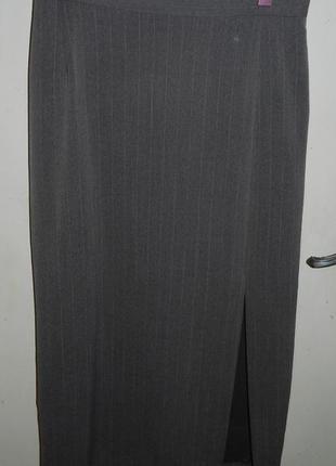 Шерсть 25%-стрейч,бежевая в полоску,длинная юбка-карандаш с ра...