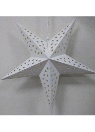 Бумажная белая звезда для декора 60 см