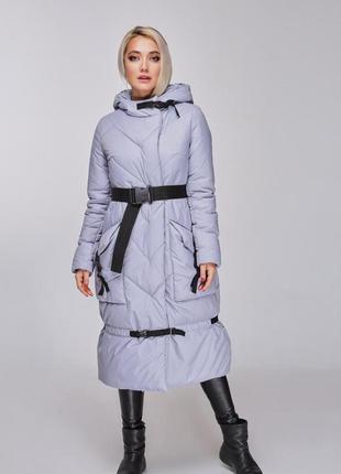 Куртка зимняя миди пуховик эксклюзив marani дизайнерский серая