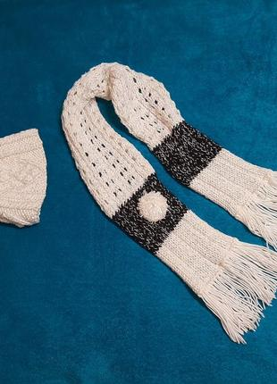 Комплект детский, шапка и шарф, ручная работа