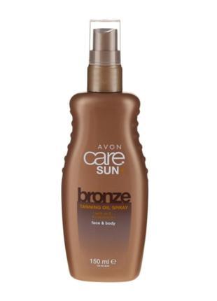 Увлажняющее масло - спрей для усиления загара avon care sun +