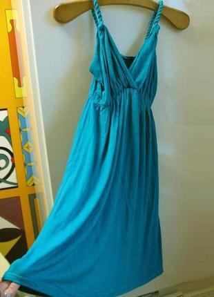 Ярко-бирюзовое трикотажное летнее платье, туника, сарафан