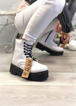 Белые женские зимние ботинки с мехом dr martens, скидка!