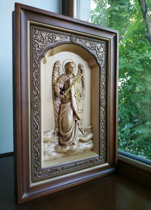 Архангел Михаил икона деревянная, резная