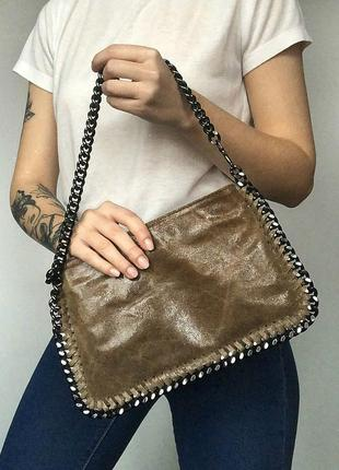 Итальянская натуральная кожаная сумка багет genuine leather (к...