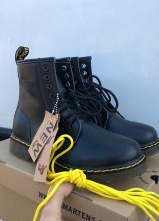 Шикарные женские зимние ботинки dr. martens 1460 black  {мех}