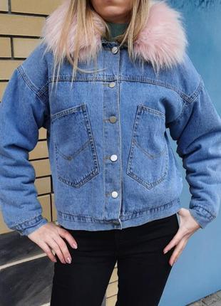 Зимняя джинсовая куртка на утеплителе очень теплая