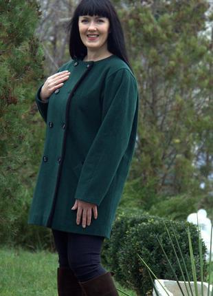 Элегантное двубортное  пальто - кокон, шерсть+кашемир изумрудн...