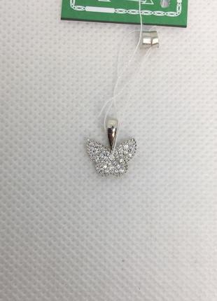 Новая родированая серебряная подвеска бабочка куб.цирконий сер...