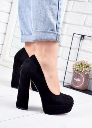 ❤ женские черные туфли на высоко каблуке ❤