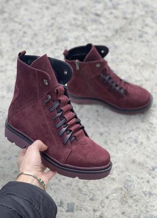 Женские замшевые ботинки {зима}