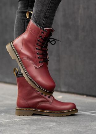 Шикарные мужские зимние ботинки dr. martens 1460 bordo fur 😍 (с
