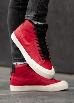 Nike sb fur red мужские зимние кроссовки с мехом красные зима