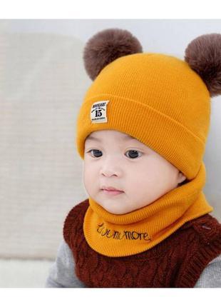 Комплект шапка+хомут moonlight жовтий