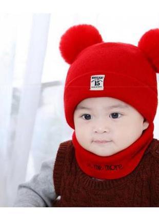 Комплект шапка+хомут moonlight червоний