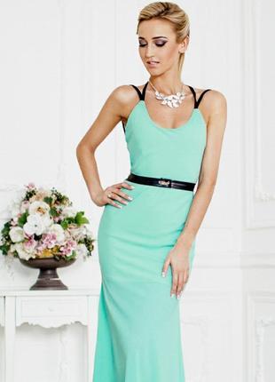 Платье макси бирюзовое с открытой спиной длинное в пол нарядно...