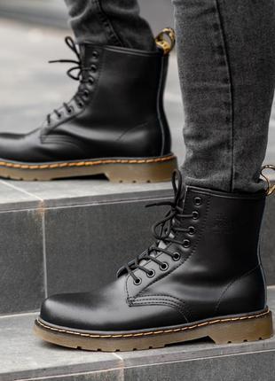 Dr. martens 1460 black fur мужские зимние ботинки с мехом чёрн...