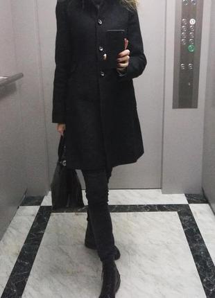Шерстяное кашемировое фирменное прямое пальто шерсть полупальто