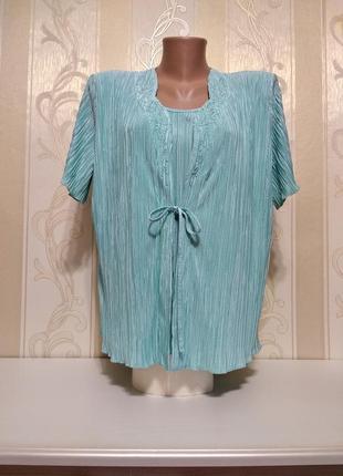 Шикарная бирюзовая блуза с жилеткой обманкой , плиссе, британия.