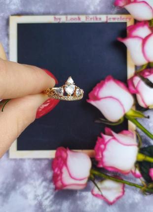 Кольцо корона позолота