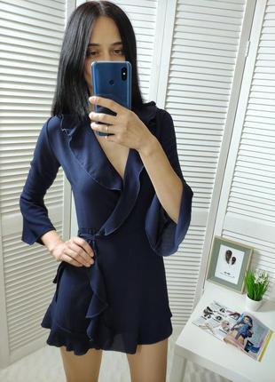 Платье синее на запах outrage ous, p-p uk 6/xs