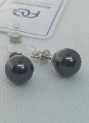 Новые серебряные серьги гвоздики иск.жемчуг серебро 925 пробы