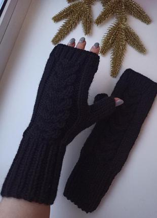 Митенки высокие вязаные перчатки для сенсорных экранов ручная ...