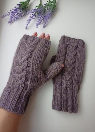 Митенки перчатки без пальцев ангоровая вязка hand made идея по...