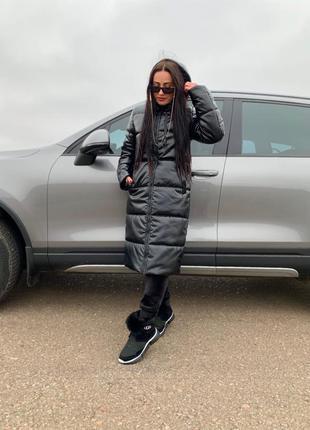Куртка женская зима на синтепух с капюшоном длинная пальто из ...