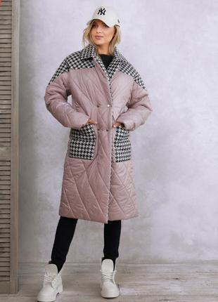 Пальто куртка женская деми на синтепоне 200на кнопках теплая зима