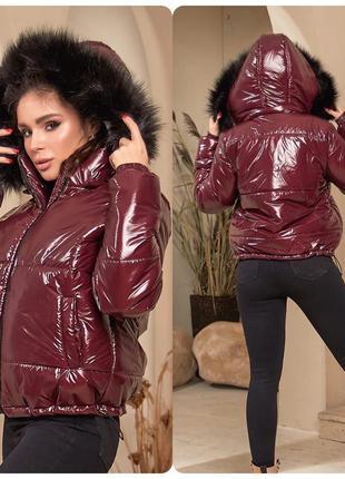 Куртка женская зима на силиконе короткая с капюшоном монклер х...