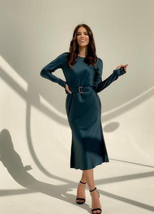 Платье женское миди нарядное с длинными рукавами