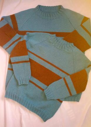 Свитер вязаный ручная работа свитер в полоску фемели лук, для ...