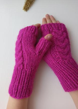 Детские митенки варежки без пальцев пушистые перчатки для девочек