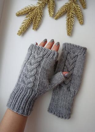 Митенки вязаные перчатки для сенсорных экранов ручная работа н...