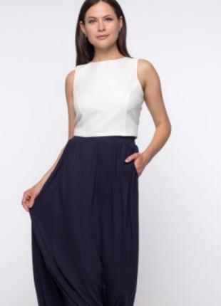 Длинная темно синяя юбка колокольчик