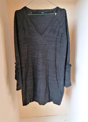 Теплое вязаное серое платье с рукавами клеш с v-вырезом next (...